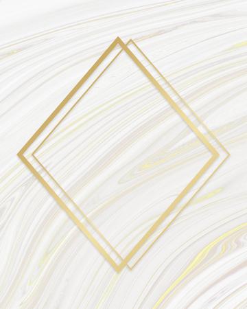 Golden framed rhombus on a liquid marble texture