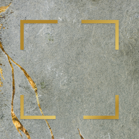 Golden framed square on a marble texture