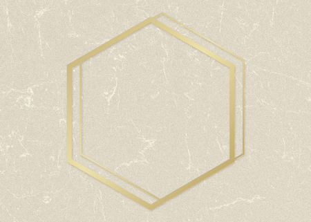 Gold hexagon frame on a beige paper textured background Stock Photo