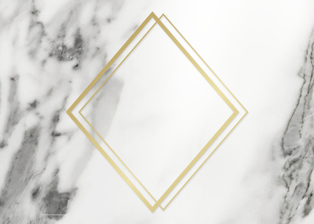 Golden framed rhombus on a marble textured illustration 写真素材