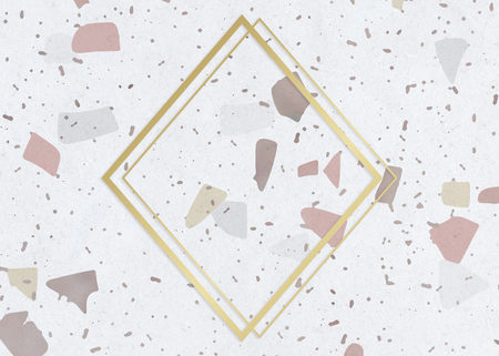 Gold rhombus frame on a pastel patterned background