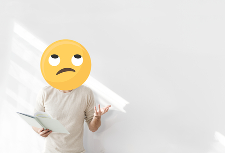 Unamused face emoji portrait on a teacher Stock Photo - 119944413