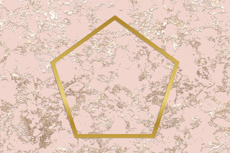 Gold pentagon frame on a rough rose gold background