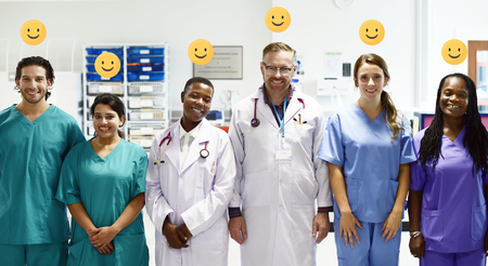 Diverse medical professionals in the hospital