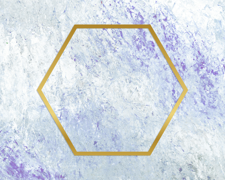 Gold hexagon frame on a blue abstract patterned background Stok Fotoğraf