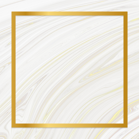 Golden framed square on a liquid marble texture