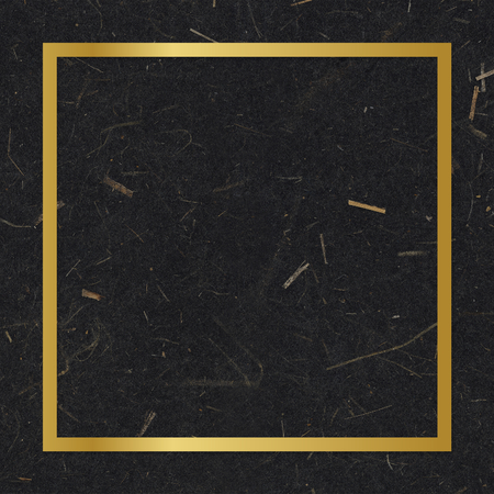 Gold square frame on a black mulberry paper textured background Banco de Imagens