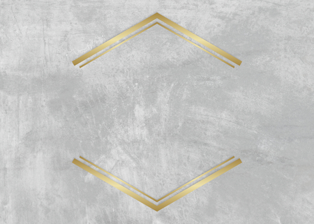 Gold hexagon frame on a gray concrete textured background illustration