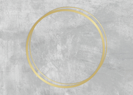 Gold circle frame on a gray concrete textured background illustration Imagens