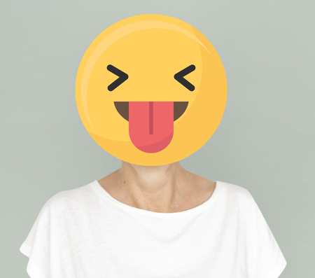 Funny face emoji portrait on a woman
