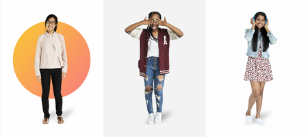 Young female student character mockups set Stock Photo