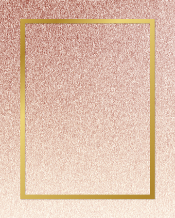 Gold rectangle frame on a rose gold background