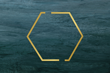 Gold hexagon frame on a blue brushstroke textured background Banco de Imagens - 119698234