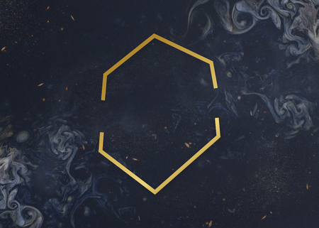 Gold hexagon frame on a universe patterned background