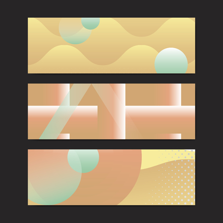 Yellow geometric abstract patterned banner vectors set