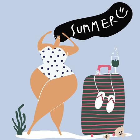 Female character enjoying the summertime vector Çizim