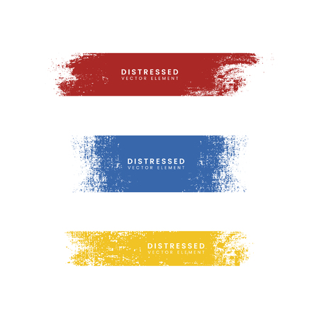 Grunge colorful distressed textured badges vector set