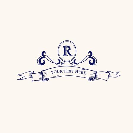 Vintage baroque R badge design