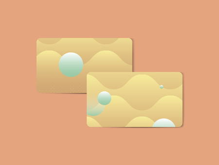 Yellow geometric abstract patterned business card template vector
