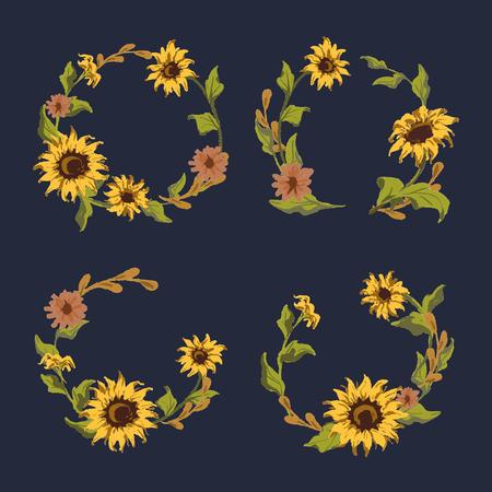Sunflower frame badge vector set