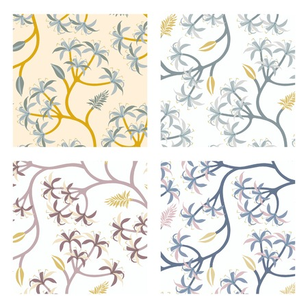 Pastel nature seamless patterned backgrounds set vector