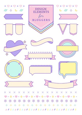 Cute pink design elements for bloggers vector