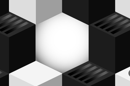 Black and white cubic background vector Ilustração