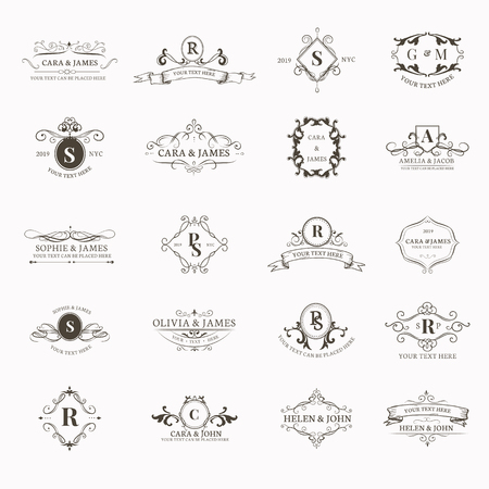 Vintage barokke badge ontwerpset