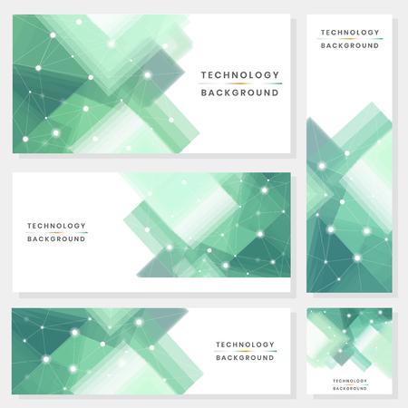 Collection de vecteur de fond de technologie futuriste vert et blanc Vecteurs