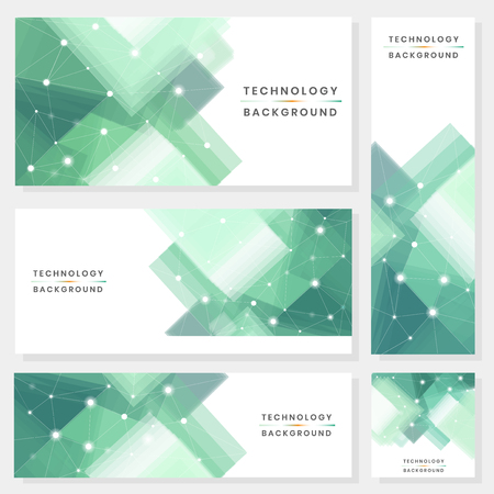 Green and white futuristic technology background vector collection