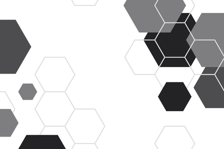 Black and white hexagon geometric patterned background vector Ilustração