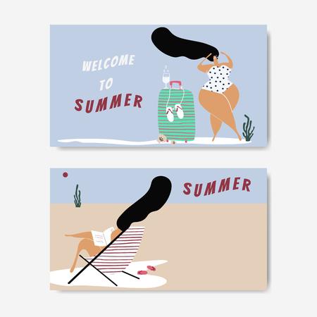 Personajes femeninos disfrutando de la colección de verano