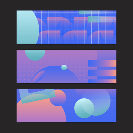 Bluish geometric abstract patterned banner vectors set