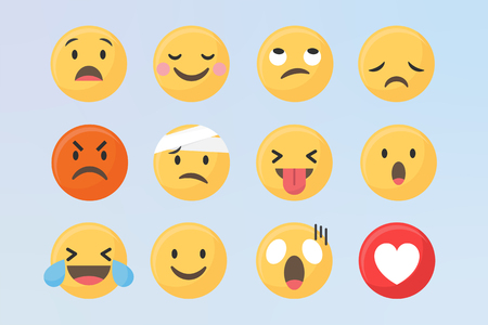 Social media emoticons vector set Çizim