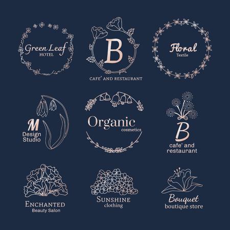 Floral feminine logo design set vector Illustration