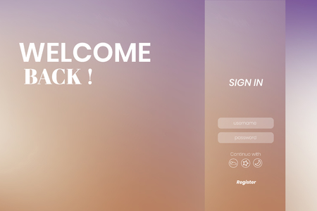 Welcome back login page vector