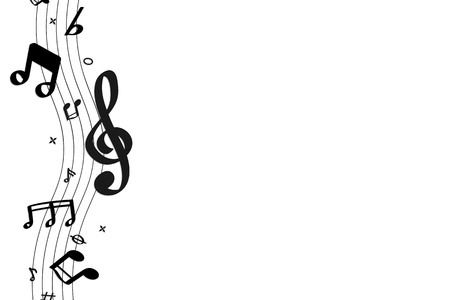 Black flowing music notes on white background vector Banque d'images - 124142397