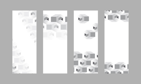 3D white and gray hexagonal patterned banner vectors set