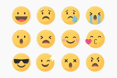 Social media emoticons vector set  イラスト・ベクター素材