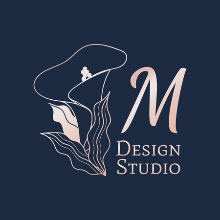 M design studio logo vector