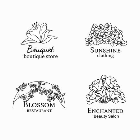 Floral feminine logo design set