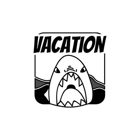 Shark vacation summer badge vector Illustration