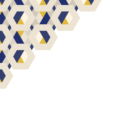 3D yellow and blue hexagonal patterned background vector Illustration