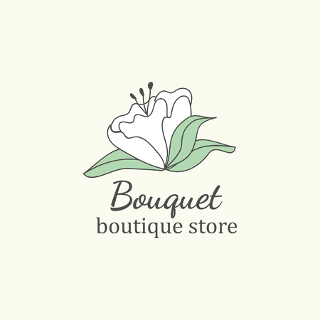 Bouquet boutique store logo vector Banque d'images - 119998145