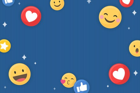 Social media emoji pattern on a blue background vector