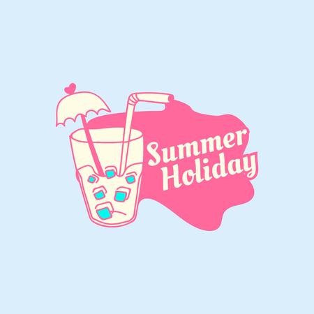 Tropical summer holiday badge vector Illustration