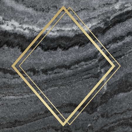 Gold rhombus frame on a gray marble textured background 写真素材