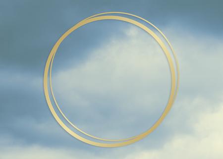 Gold round frame on a blue sky background illustration Stock Photo