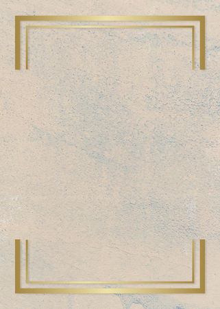 Gold rectangle frame on a rough beige background