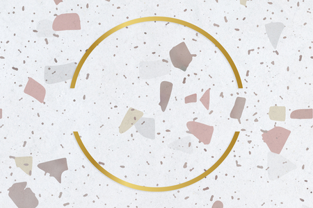 Golden framed semicircle on a stained texture